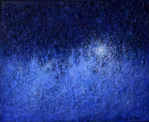 Abstract painting Vibrations of universe Ultramarine vibration by Ararat Petrossian