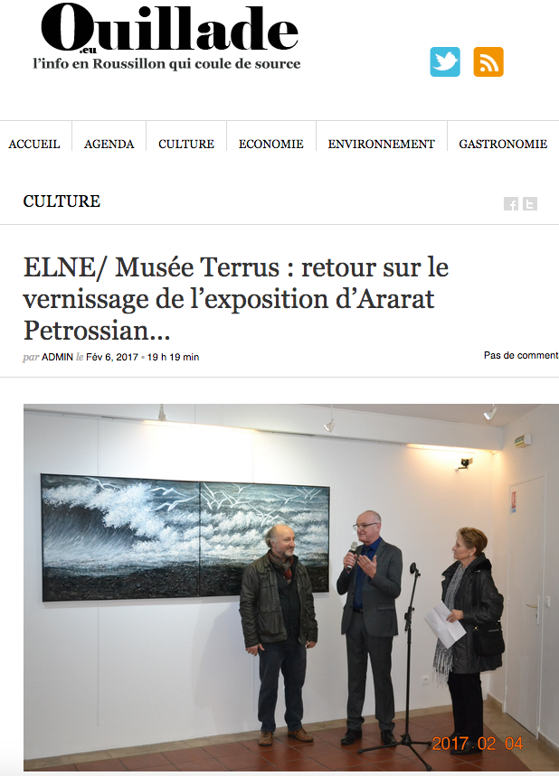 Ararat Petrossian's exhibition in Musee Terrus in Elne. Publication on portal Ouillade